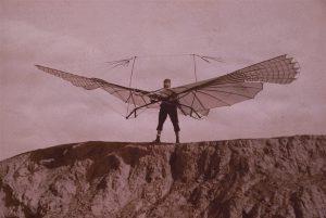 Lilienthal mit Schlagflügelapparat 1894